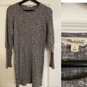 Madewell sweater dress long sleeve marled grey
